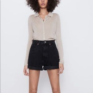 Zara Mom Fit Black Denim Shorts